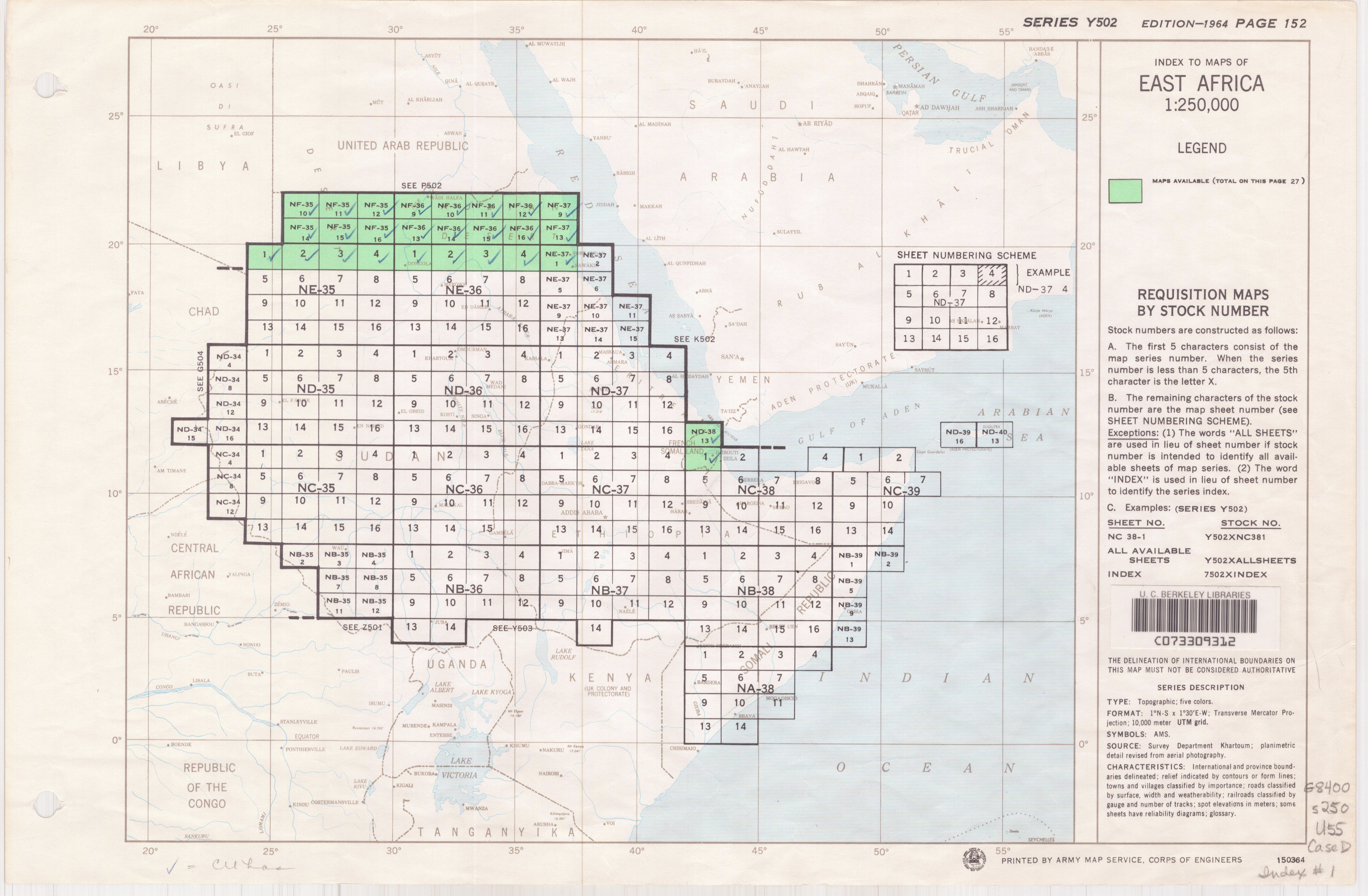 U.S. Army Map Service AMS Series Index maps