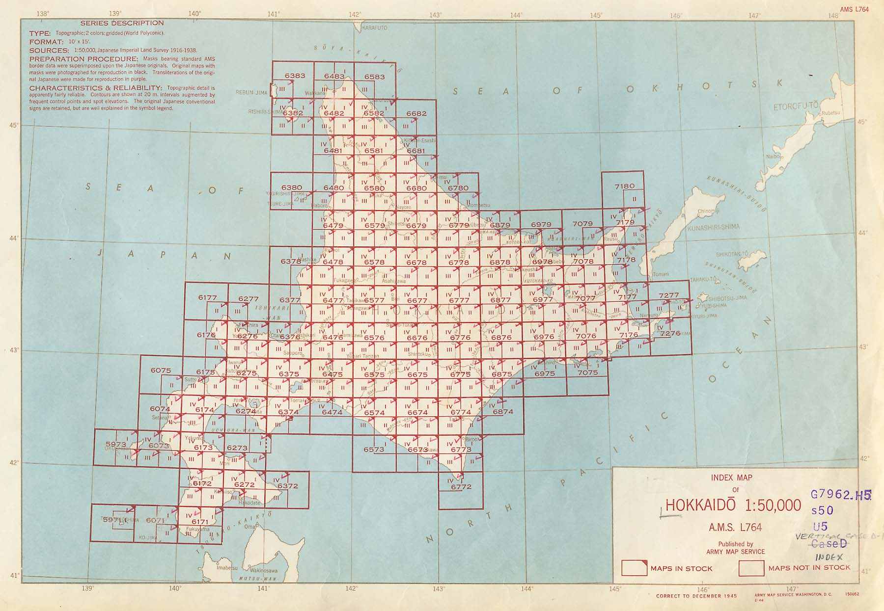 US Army Map Service AMS Series L Index Map Hokkaido - Service map of us