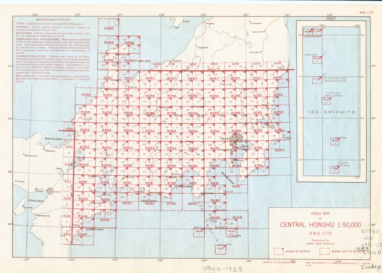 Ams Series L774 Index Map U S Army Map Service