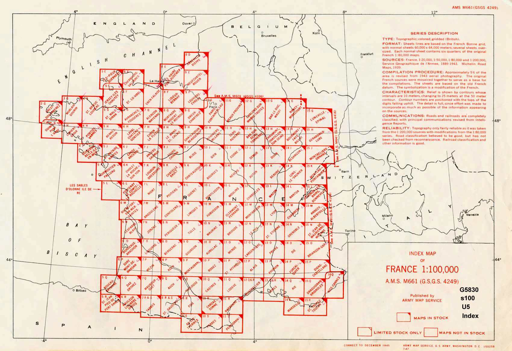 France 1 100 000 Ams Series M661 Index Map U S Army Map Service