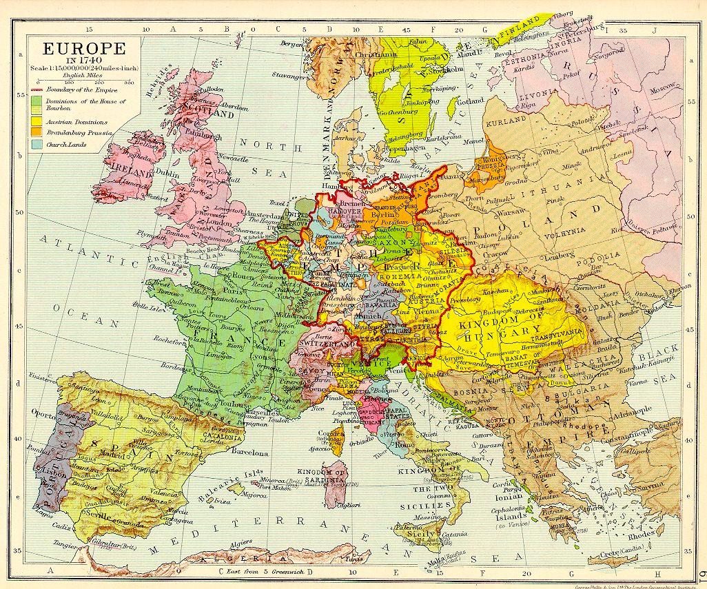 Europe 1740 Map