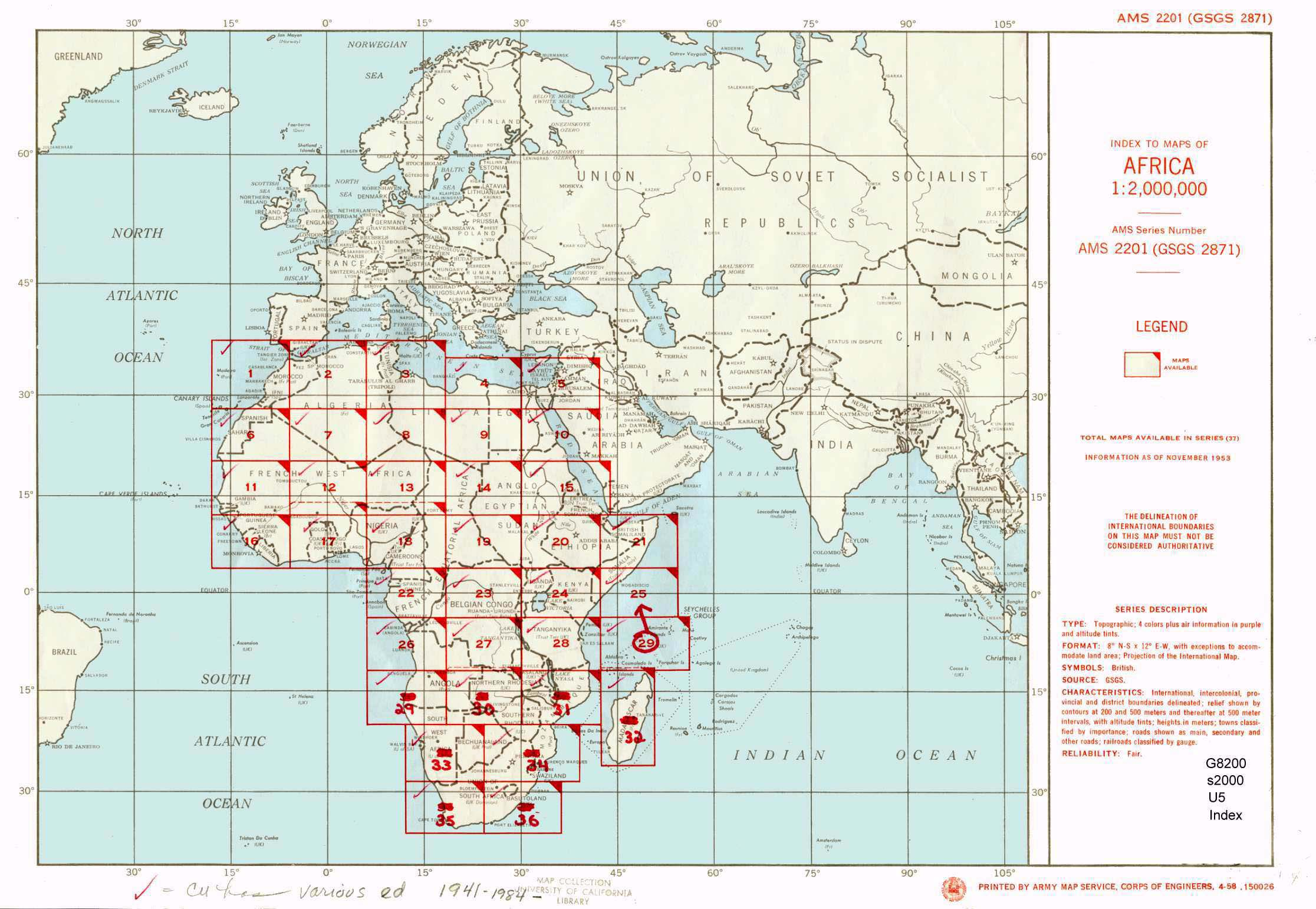 US Army Map Service AMS Series Index Map Africa - Map of us and africa
