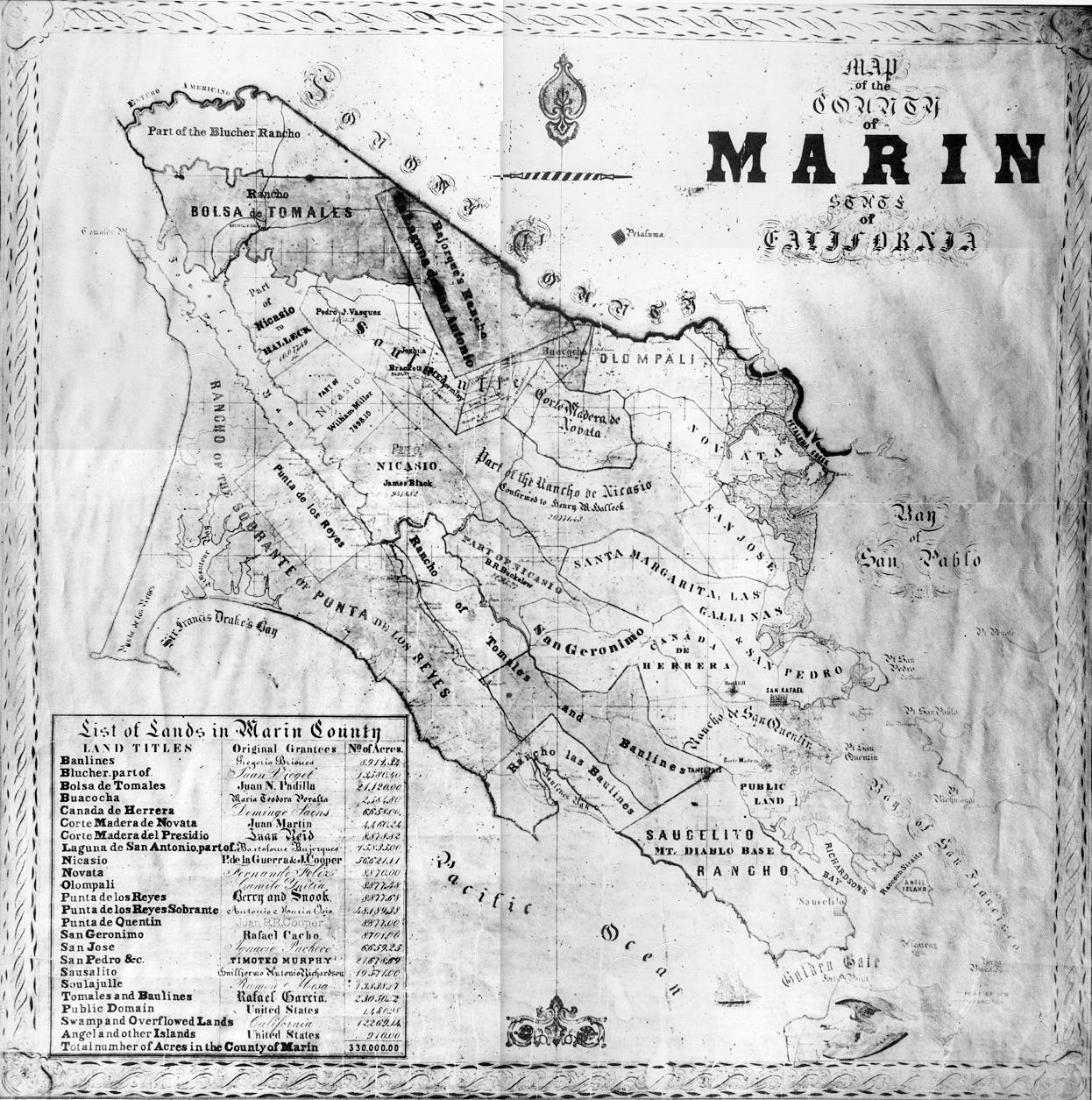 Marin County California Map 1860