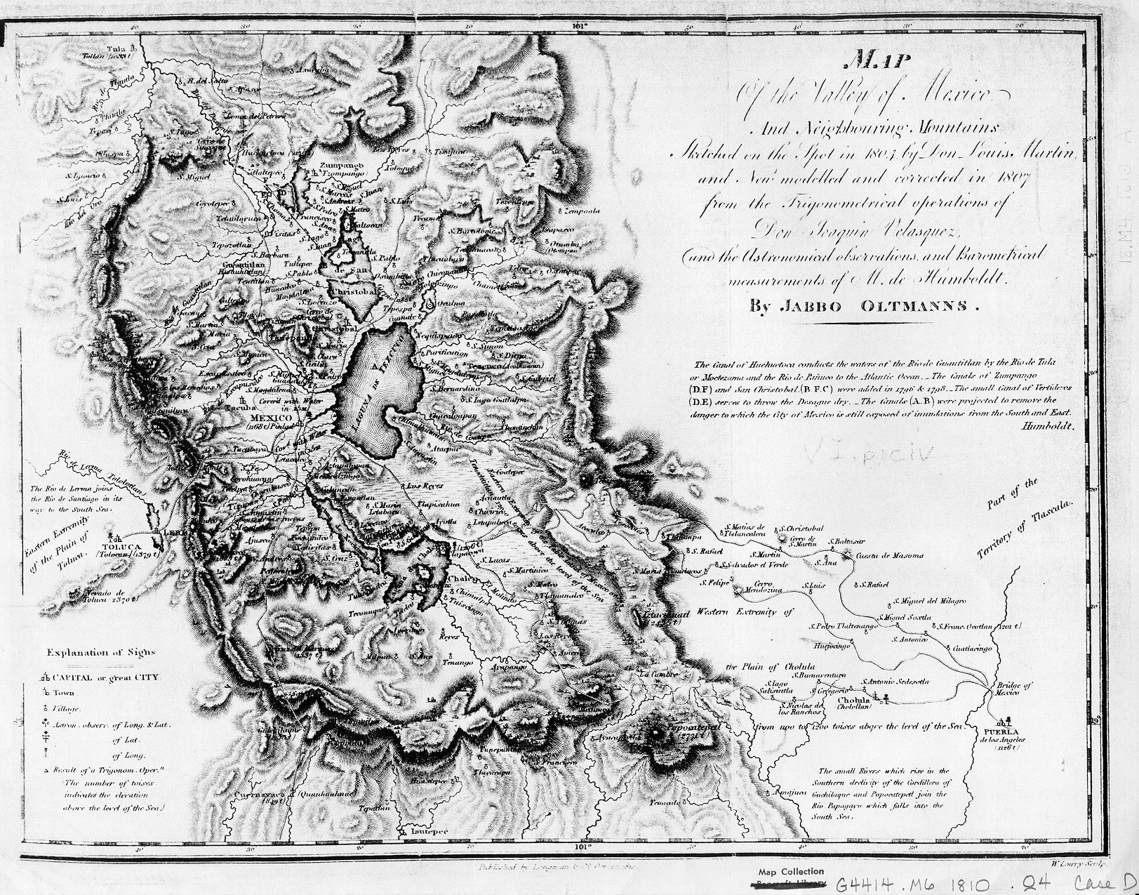 Valley Of Mexico Map 1810