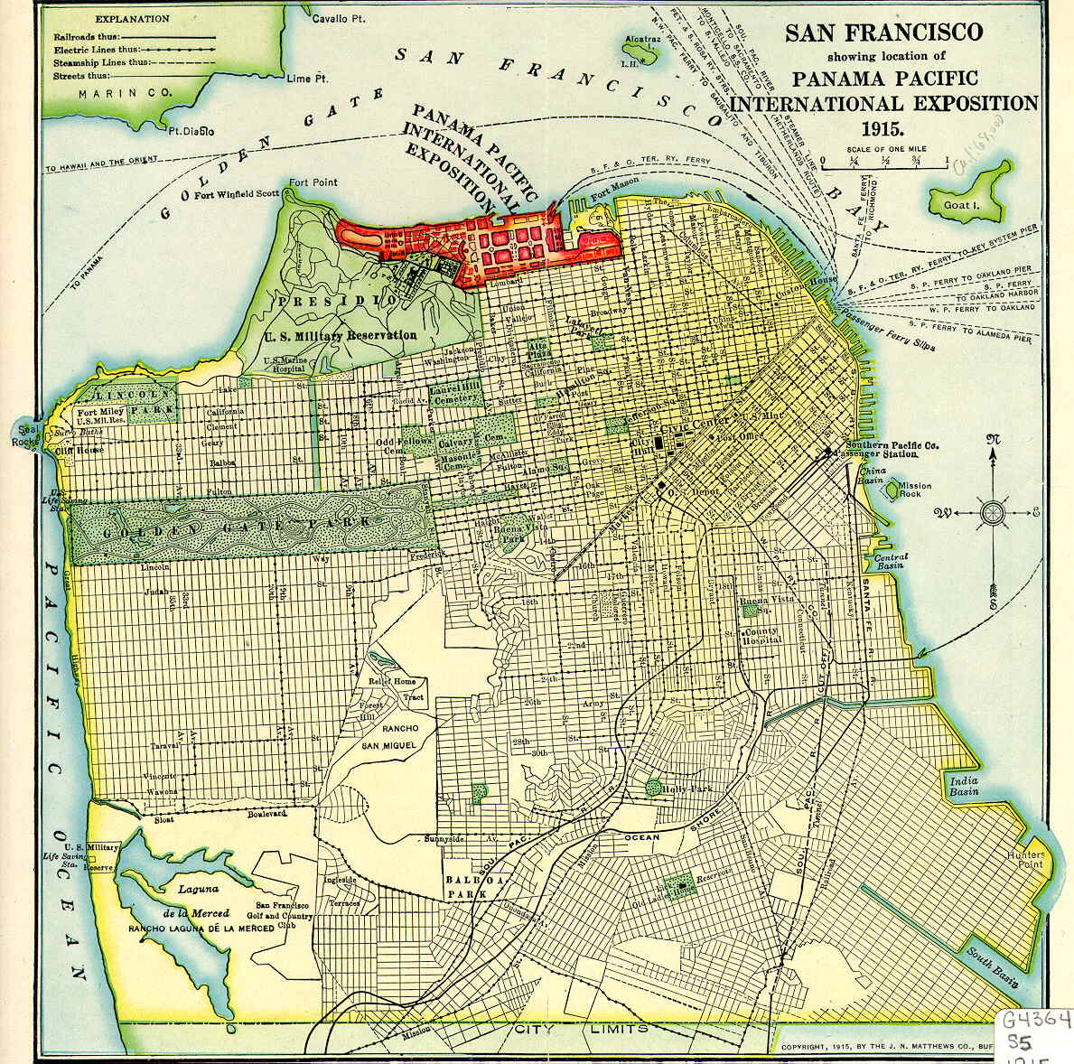 San Francisco CA Map  1915