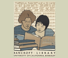 A limited edition poster by renowned Berkeley artist David Lance Goines to celebrate the 100th anniversary of The Bancroft Library at Berkeley and the 150th anniversary of its foundation. 2009.