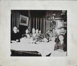 "Richard N. and Rhoda H. Goldman papers, 1863-2003 (bulk 1939-1995). Haas family around table [""Property of Ruth Lilenthal""].  BANC MSS 2010/687 carton 48:01"