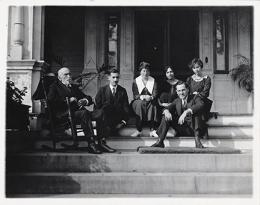 Richard N. and Rhoda H. Goldman papers, 1863-2003 (bulk 1939-1995), 3 men and 3 women sitting on front porch steps.  BANC MSS 2010/687 carton 48:01