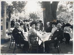 Richard N. and Rhoda H. Goldman papers, 1863-2003 (bulk 1939-1995)., Wedding of Elise Stern to Walter Haas, Sr., 1914 [group at outdoor table]. BANC MSS 2010/687 carton 48:02