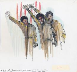 Rosalie Ritz courtroom drawings: The last time George Jackson was seen in public - S.F. Hall of Justice - Preliminary Hearing Soledad Trial.