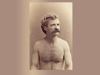 Mark Twain as model for sculptor Karl Gerhardt. Photographer: C. Tomlinson, Elmira, N.Y. Date: mid-August 1884. [Mark Twain Papers, PH00116]