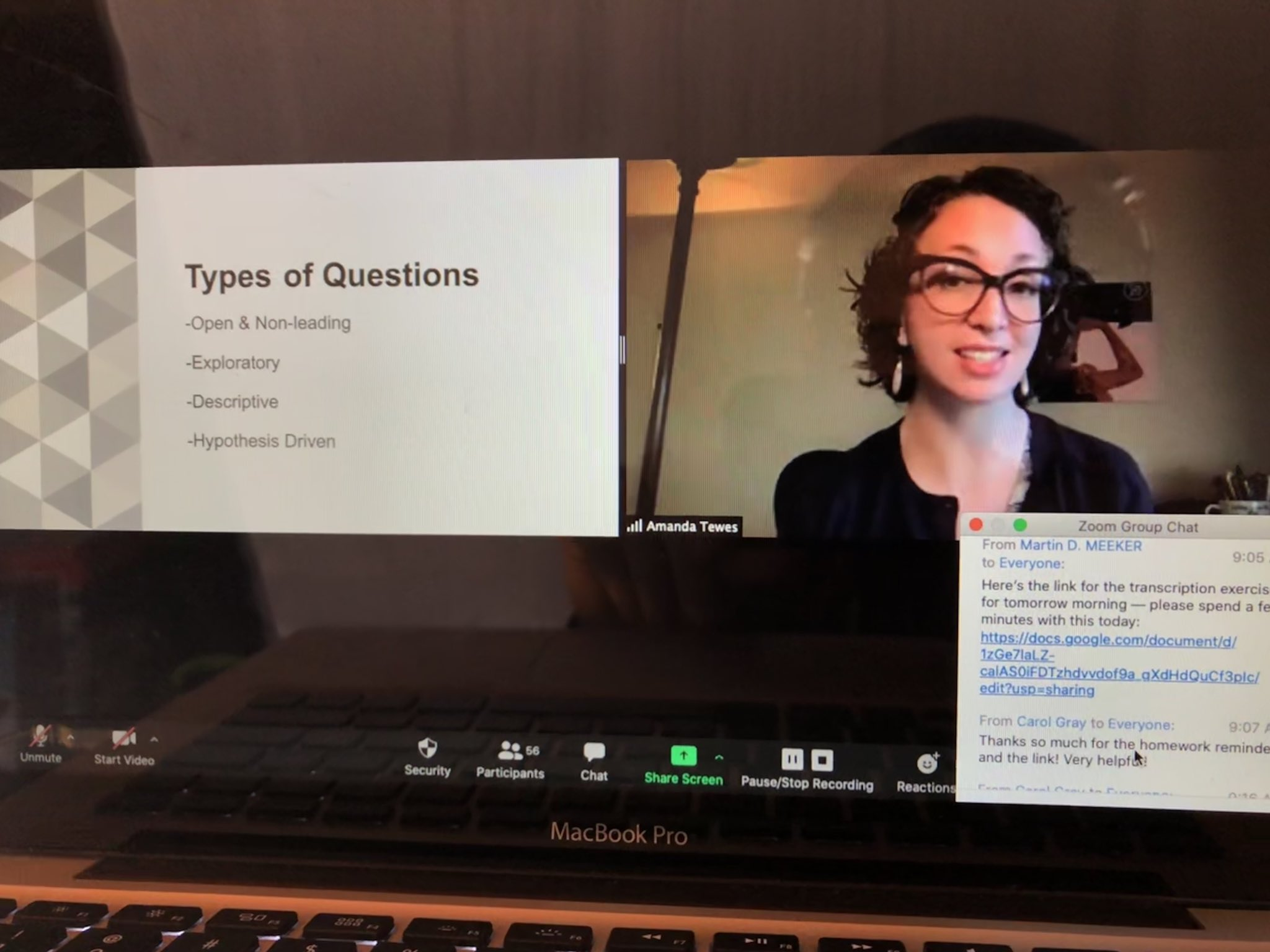 Amanda Tewes teaches online
