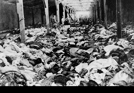 Scene after the liberation of the Auschwitz camp: a warehouse of clothes that belonged to women who were murdered there. Photo courtesy of the US Holocaust Memorial Museum photo archive.
