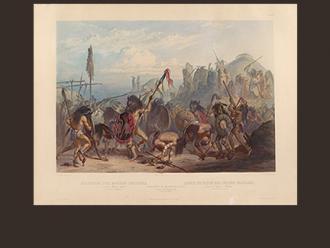 """Karl Bodmer, """"Reise in das innere Nord-America in den Jahren 1832 bis 1834, Bison-dance"""""""