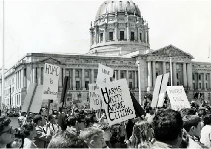 UC Berkeley SLATE and other protestors in front of San Francisco city hall