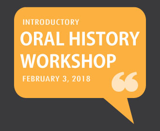 Logo for February 3, 2018 Oral History Center Introductory Workshop