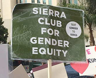 Sign saying Sierra Club for Gender Equity