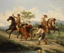 Ferran, Augusto (1813-1879), [Vaqueros lassoing steer] ca. 1849. BANC PIC 1963.002:1356—FR