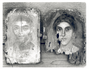 EES Hunt--two Tebtunis human mummy portraits
