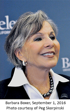 Photo of Barbara Boxer, September 1, 2016, Coutesy of Peg Skorpinski