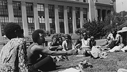 Photo of a class outside of the Biology building, courtesy of The Bancroft Library University Archives