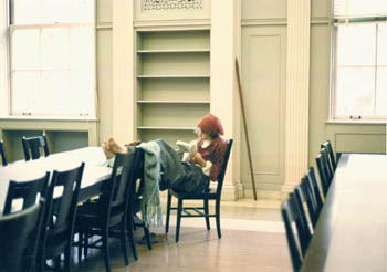 photograph: Studying in vacant reading room , 1980