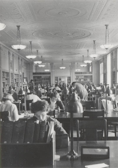 photograph: Reading room 1950s, view from rear