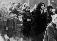Hungarian Jewish women and children on the way to the gas chamber at Auschwitz