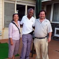 Candace Fukumoto, Ernest Golden, and David Dunham at Golden's ocean front home in Laie, Oahu
