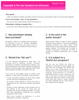 Copyright & Fair Use Guidance for bCourses Handout