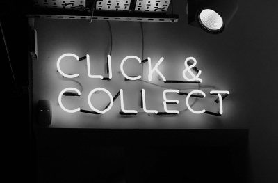 "Black & white image reading ""Click and Collect"""