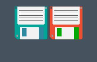 2 floppy discs cartoon