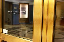 Bancroft Gallery doors with reflections, 2014