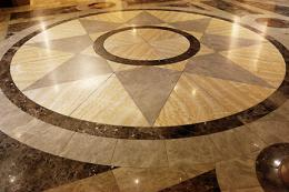 Marble pattern on floor of Bancroft lobby, 2014