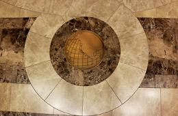 Detail of the Bancroft Library lobby floor, 2014
