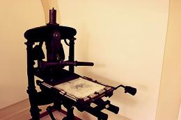 Historic letterpress in the Bancroft lobby, 2014